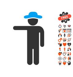 Gentleman show icon with love bonus vector
