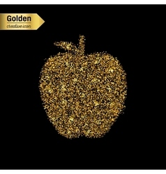 Gold glitter icon of apple isolated on vector image