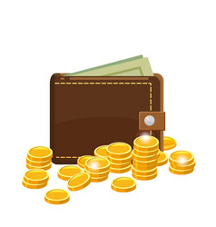 golden coins and wallet with dollars bank notes in vector image