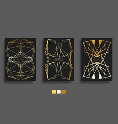 golden gradient lines background art deco design vector image
