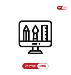 graphic design tools in monitor icon vector image