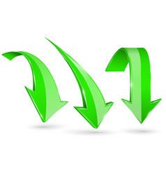 green down arrows set 3d web shiny icons vector image