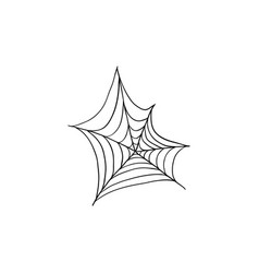 Halloween spider web doodle element isolated vector