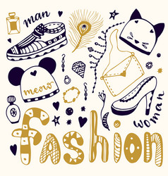 hand drawn sketch fashion set shopping doodle vector image