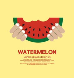 Hand Hold A Piece Of Watermelon vector image