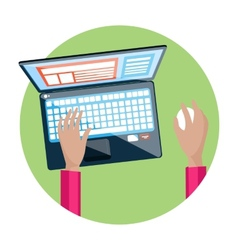 Hand on laptop keyboard with screen monitor vector image