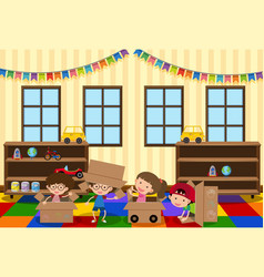 Happy children playing in the room vector