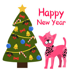 Happy new year greeting card cartoon pink spot dog vector