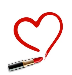 Heart drawn red lipstick vector image