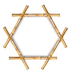 Hexagonal brown bamboo stems border with rope and vector