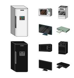 Home appliances and equipment cartoonblack icons vector