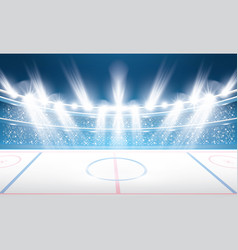 Ice hockey stadium with spotlights vector