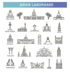 Icon set representing tourist asian landmarks vector