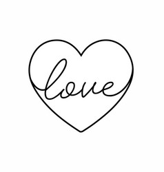 Love lettering isolated on white with heart vector