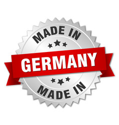 made in germany silver badge with red ribbon vector image