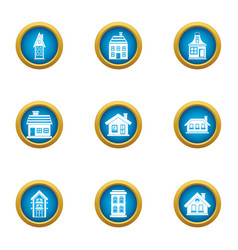 Manor icons set flat style vector