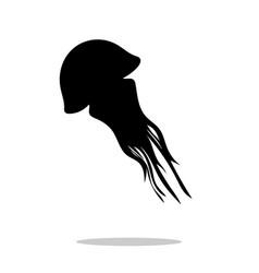 medusa black silhouette aquatic animal vector image