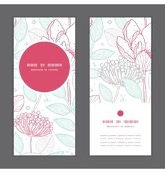Modern line art florals vertical round vector