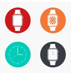 Modern smartwatch colorful icons set vector