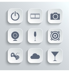 Multimedia icons set - white app buttons vector image