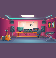 music studio control room and singer booth vector image