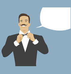 mustached waiter and empty speech balloon retro vector image