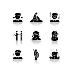 Negative feelings drop shadow black glyph icons vector