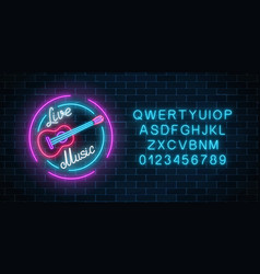Neon alphabet and sign of bar with live music vector