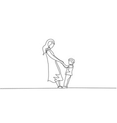 One single line drawing young happy mom and her vector
