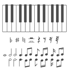 Piano keys and notes vector