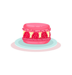 Pink macaron with fresh raspberry delicious vector