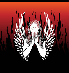 Praying angel tattoo design pretty woman vector