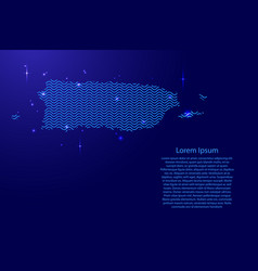 Puerto rico map country abstract silhouette from vector