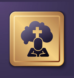 Purple man graves funeral sorrow icon isolated on vector