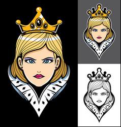 Queen face mascot vector