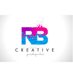Rb r b letter logo with shattered broken blue vector