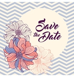 Save the Date card Flowers on chevron background vector image