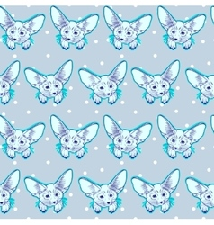 Seamless pattern with cute fox animal and snow vector image