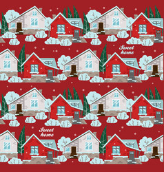 Seamless pattern with winter houses vector