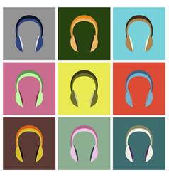 set icons in flat design headphones vector image