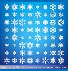 set of 64 original beautiful snowflakes graphic vector image