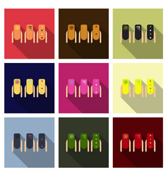Set of colored painted nails manicure nail polish vector