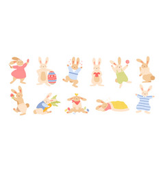Set of cute funny easter rabbits or bunnies vector