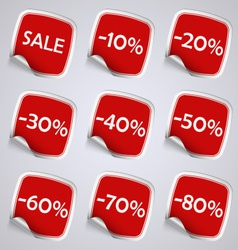 Set of red rectangle sale stickers vector