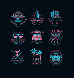 set original emblems for surfing club vector image