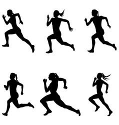 Set sprint woman runners vector