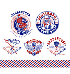 set vintage barbershop emblems labels vector image