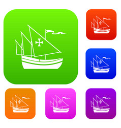 Ship of columbus set collection vector