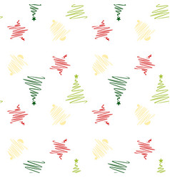 Sketch christmas with star bell christmas tree vector