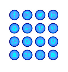 Social media blue set vector